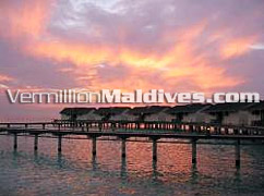 Water Villas at Sunset – Beautiful moments inGreat Maldives Vacations Hotels