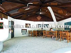 Simple tropical reception of Rihiveli Island Resort in south male' atoll