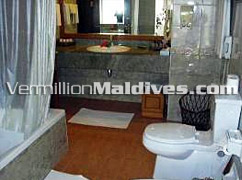 Beach Villas Bathroom at the deluxe Maldives vacations hotel Royal Island