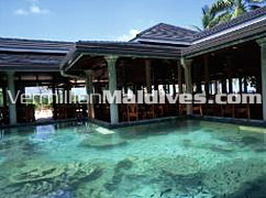 Beautiful restaurant at Royal Island Maldives with view of underwater