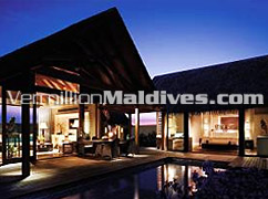 Beach Villa of ShangriLa's Villingili Maldives. Luxury five star Resort