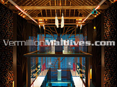 Great Wine Cellar above the tropical seas at Six Senses Latitude Laamu Maldives Hotel