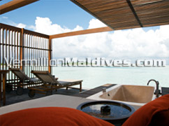 View from the Villas at The HAVEN Maldives. Good & beautiful Honeymoon Resort