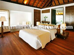 Double Beds in Bedroom of Velassaru Maldives – Luxury Boutique Hotel