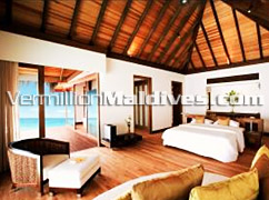 Sitting area of the Water Villa of Velassaru Maldives – Luxury Retreat in Maldives