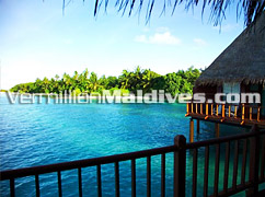 Island seen from your Water Villa in Velidhu Island Resort – Fell free to plunge into the Sea as well
