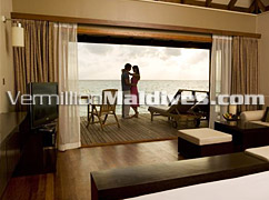 Interior of your private accommodations - Jacuzzi Waters Veligandu Island Cheap Maldives Holidays