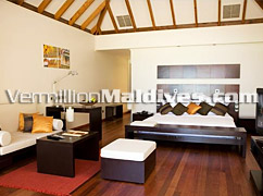 Simple and Beautiful Interior of Jacuzzi Water Villas Veligandu Beach Resort Maldives