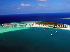 Birds eye view of Vilu Reef - Maldives Resort secluded and private