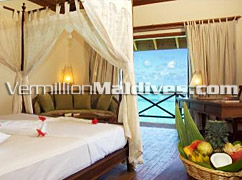 Decorated Bed Room for your pleasure in Vilu Reef Beach & Spa -  Maldives