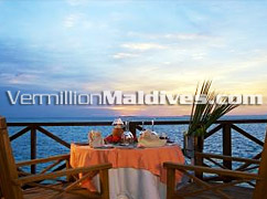 Sunset Dinning or Private Dining can be arranged in Vilu Reef Beach & Spa