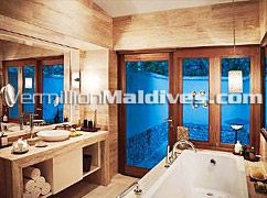 Clean and Extravagant Bath Rooms in Vivanta by Taj Corel Reef – Resort Island of Maldives